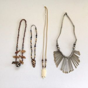 African Themed Silver & Bone Ivory Necklace lot